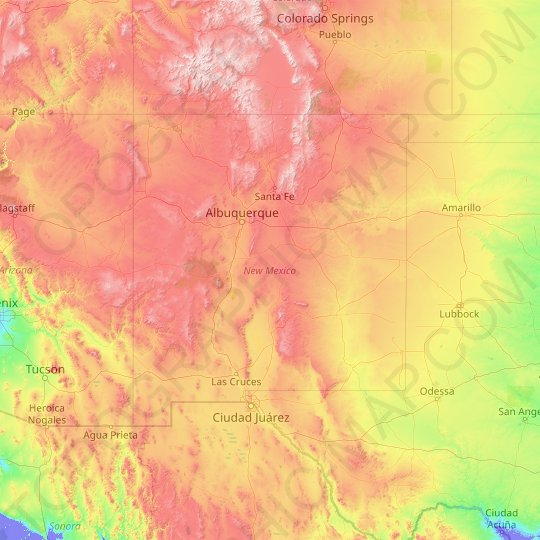 New Mexico topographic map, elevation, relief
