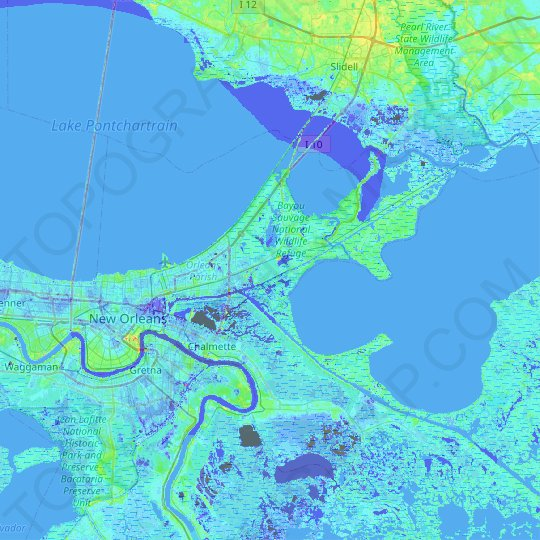 New Orleans topographic map, relief map, elevations map