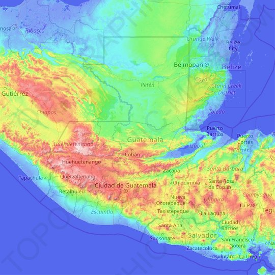 topographic map of guatemala Guatemala Topographic Map Elevation Relief