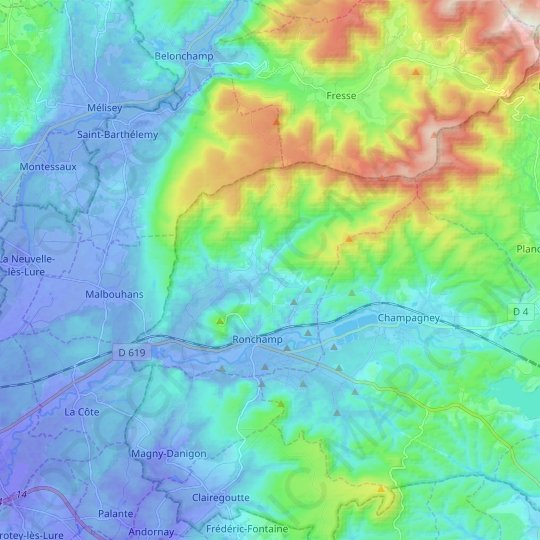 Ronchamp topographic map, relief map, elevations map