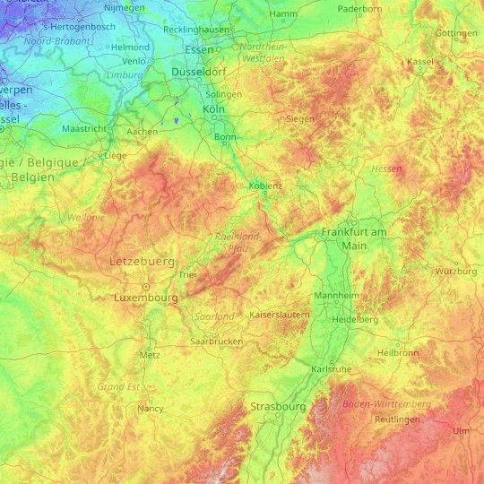 Rhineland Palatinate Topographic Map Elevation Relief