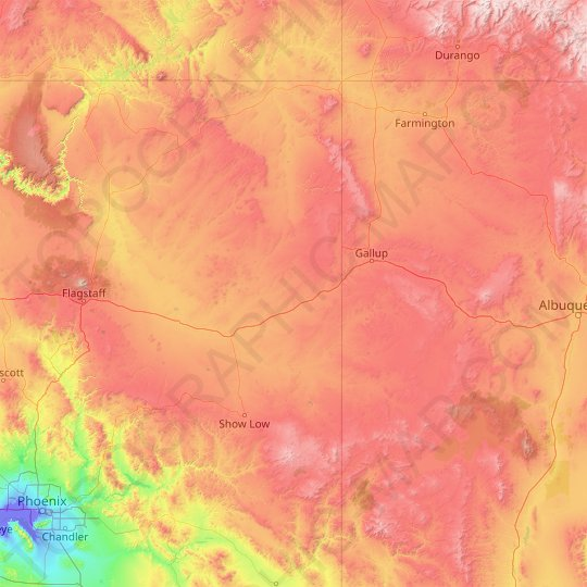 Apache County topographic map, elevation, relief
