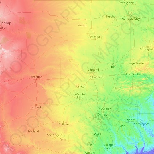 Oklahoma topographic map, relief map, elevations map