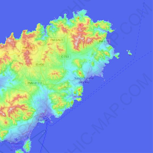 Santa Eulalia del Río topographic map, relief map, elevations map