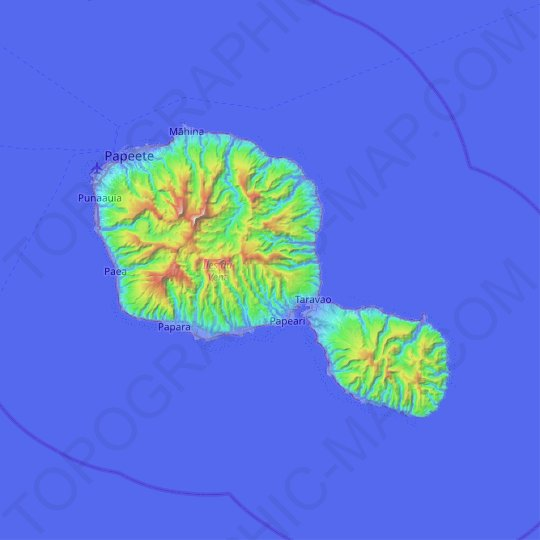 Tahiti topographic map, relief map, elevations map
