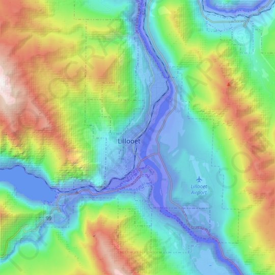 Lillooet topographic map, relief map, elevations map