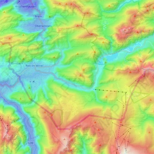 Reit im Winkl topographic map, elevation, relief