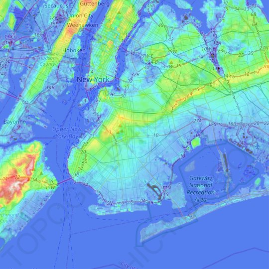 Brooklyn topographic map, relief map, elevations map