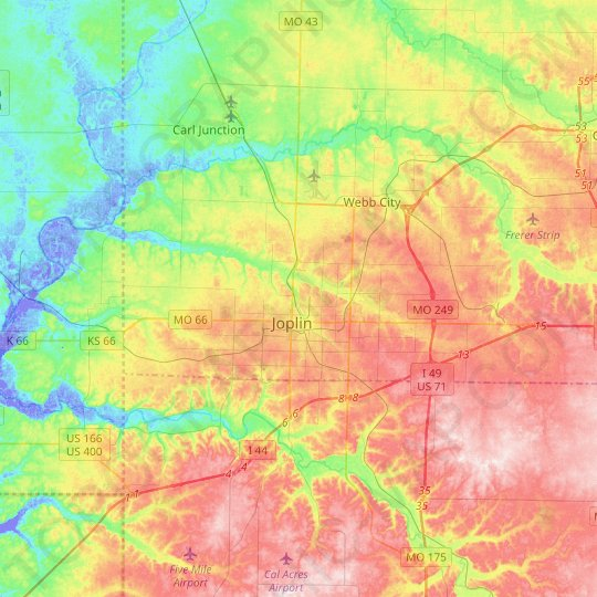 Joplin topographic map, relief map, elevations map