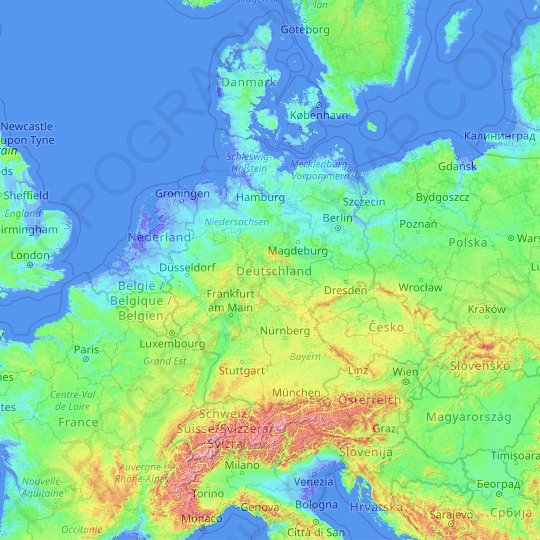 Germany Topographic Map Elevation Relief
