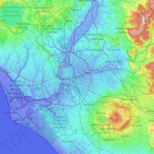 Rome topographic map, relief map, elevations map on topographic map west africa, topographical map of africa, elevation topographic map africa,