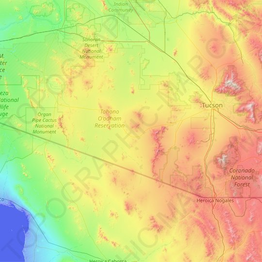 Pima County topographic map, elevation, relief