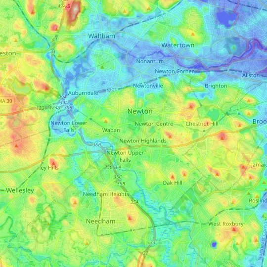 Newton topographic map, relief map, elevations map