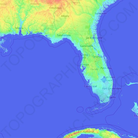 Interactive Elevation Map Of Florida Florida topographic map, elevation, relief