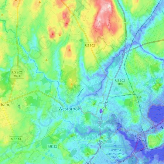 Westbrook topographic map, relief map, elevations map