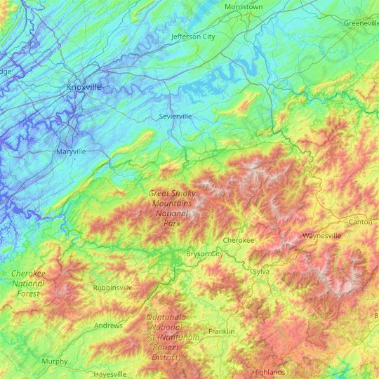 Great Smoky Mountains National Park topographic map, relief ... on