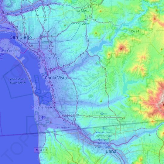 Chula Vista topographic map, relief map, elevations map