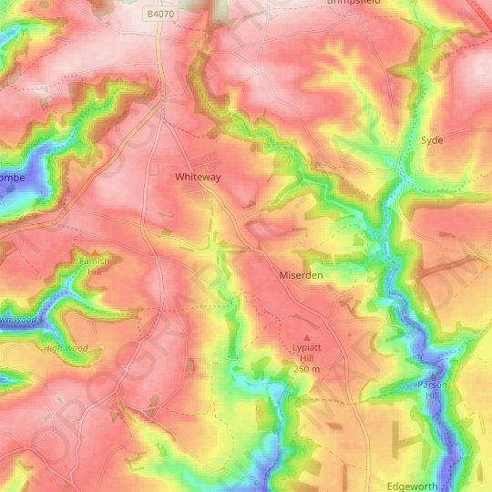 Miserden topographic map, relief map, elevations map