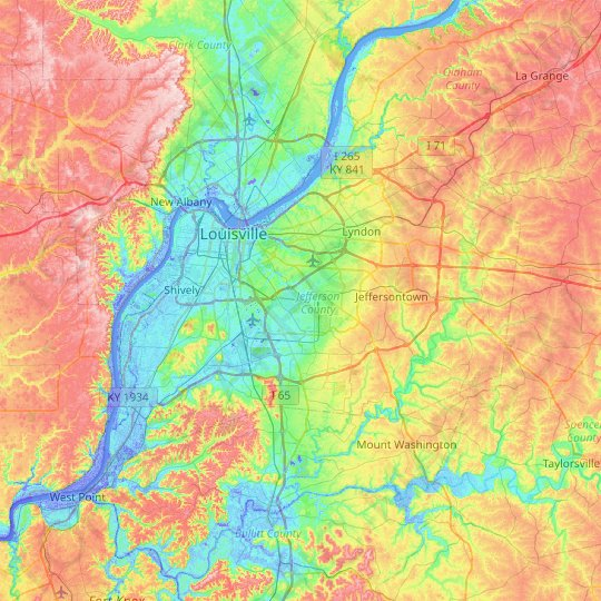 Louisville topographic map, relief map, elevations map