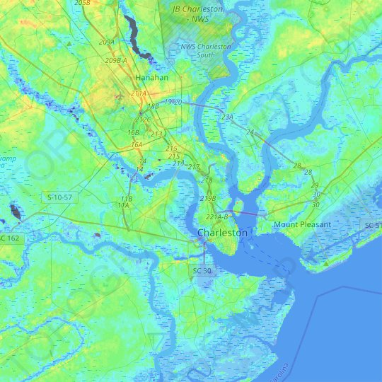 Charleston topographic map, elevation, relief