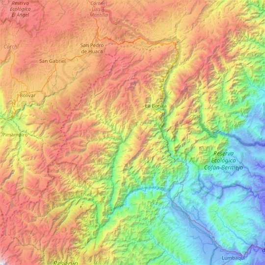Sucumbíos topographic map, relief map, elevations map