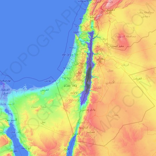 Israel topographic map, relief map, elevations map
