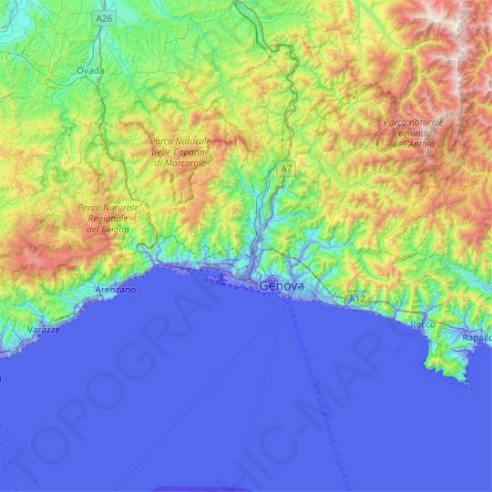 Genoa topographic map, relief map, elevations map