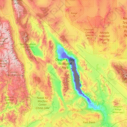 topographic map of death valley Death Valley National Park Topographic Map Elevation Relief