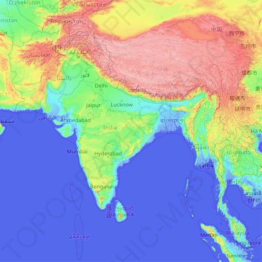 contour map of india India Topographic Map Elevation Relief contour map of india