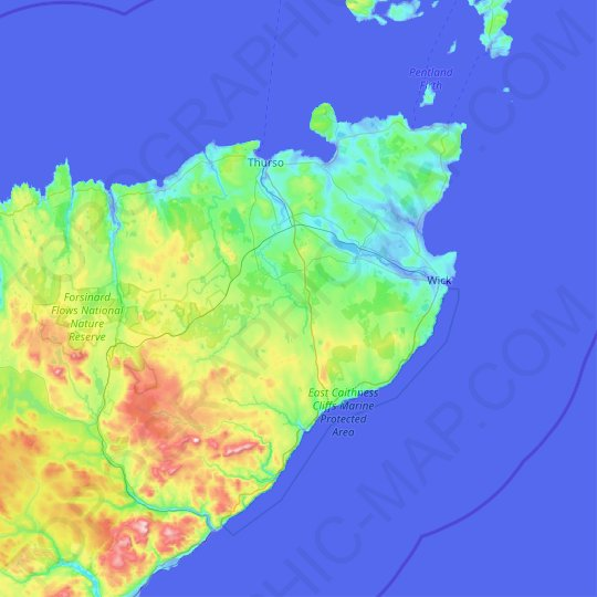 Caithness topographic map, elevation, relief