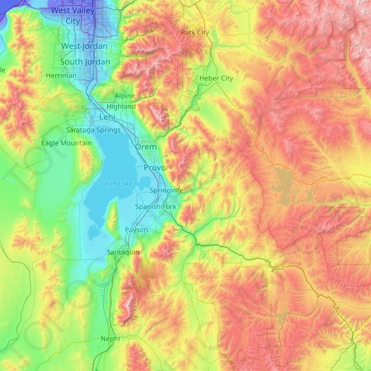 Utah County topographic map, elevation, relief
