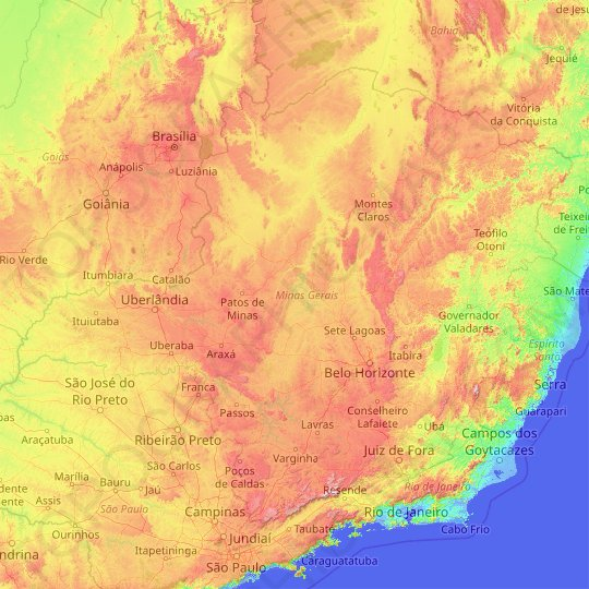 Minas Gerais topographic map, relief map, elevations map