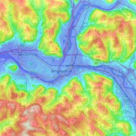 Binghamton topographic map, relief map, elevations map
