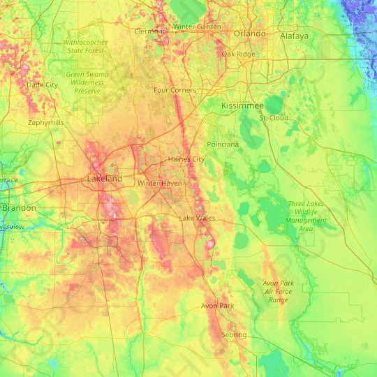 Florida Elevation Map By County Polk County topographic map, elevation, relief