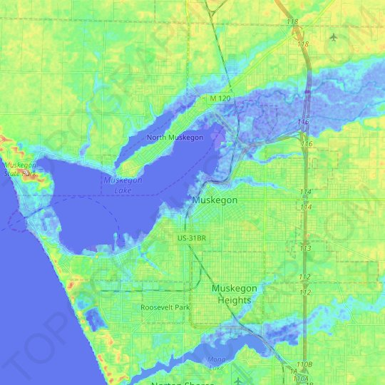 Muskegon topographic map, relief map, elevations map
