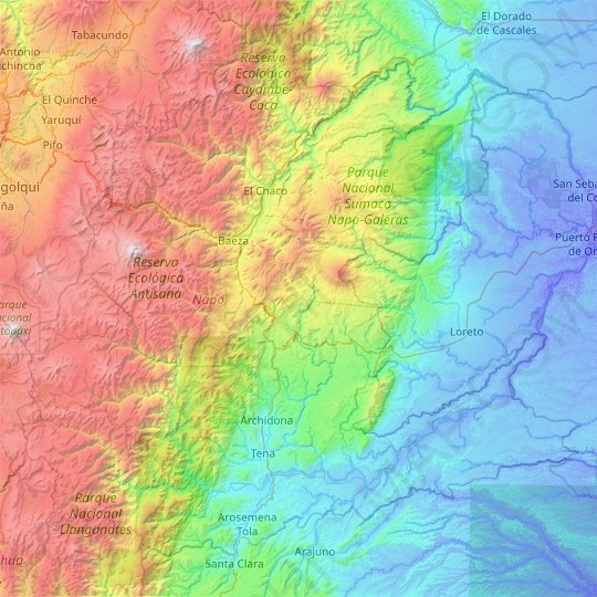 Napo topographic map, relief map, elevations map