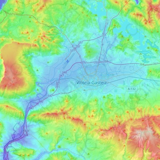 Vitoria-Gasteiz topographic map, relief map, elevations map