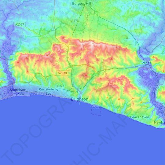 Brighton and Hove topographic map, relief map, elevations map