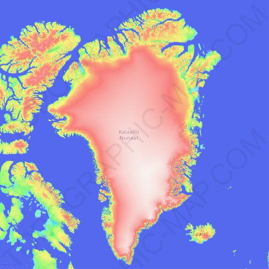 Greenland topographic map, elevation, relief