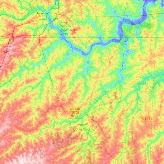 Yanceyville topographic map, relief map, elevations map