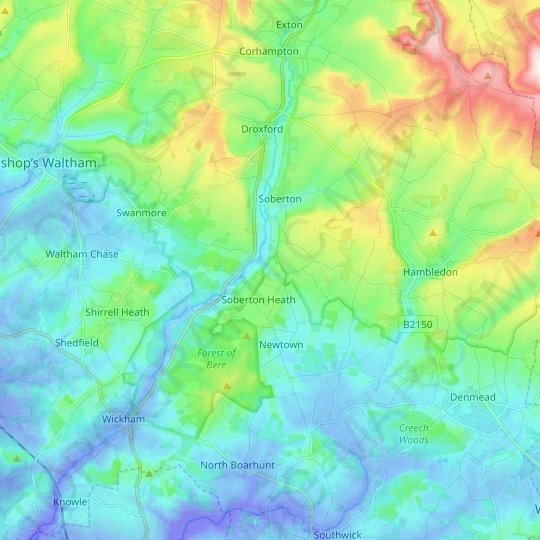Soberton topographic map, relief map, elevations map