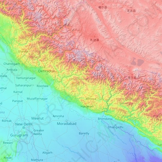 Uttarakhand topographic map, relief map, elevations map
