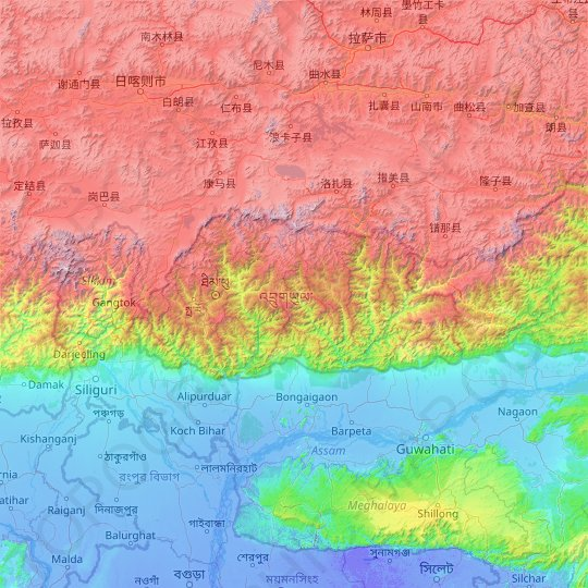 Bhutan topographic map, relief map, elevations map