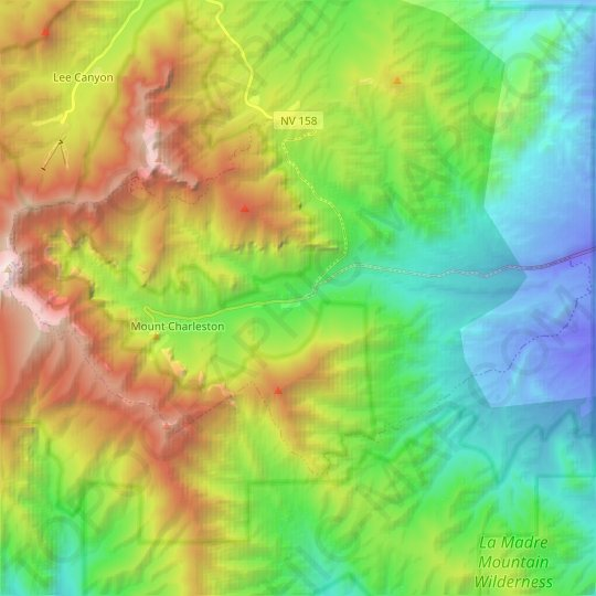 Mount Charleston topographic map, relief map, elevations map
