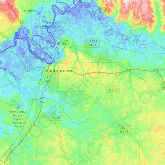 Montgomery topographic map, relief map, elevations map