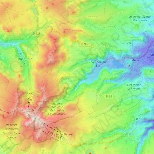 Chambon-sur-Lac topographic map, relief map, elevations map