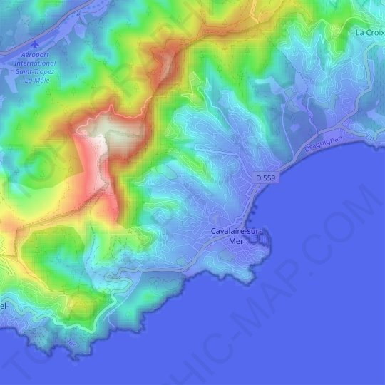Cavalaire-sur-Mer topographic map, elevation, relief