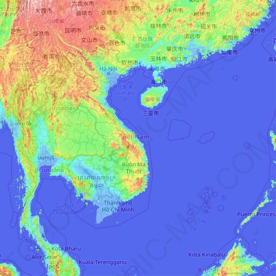 Vietnam topographic map, relief map, elevations map
