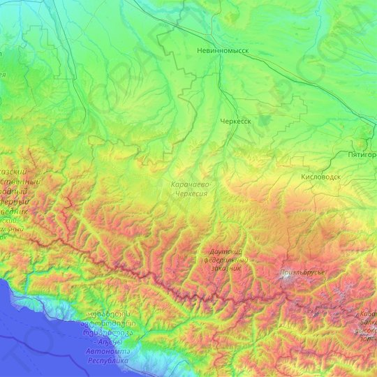 Karachay-Cherkess Republic topographic map, relief map, elevations map