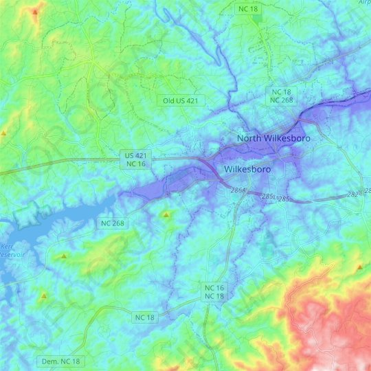 Wilkesboro topographic map, elevation, relief